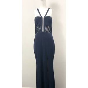 La Femme NWT Navy Blue Dress Open Back - Size 6